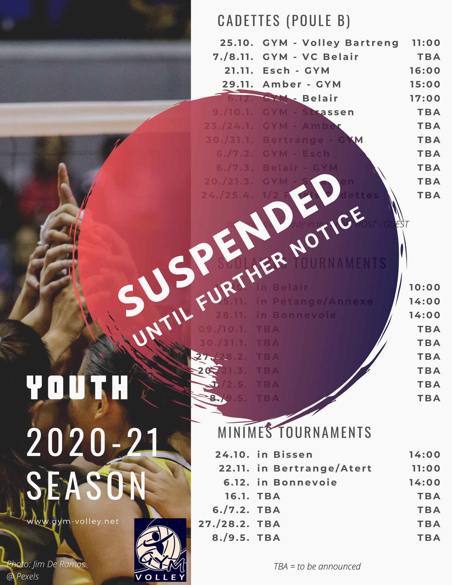 2020 2021 Season schedule YOUTH